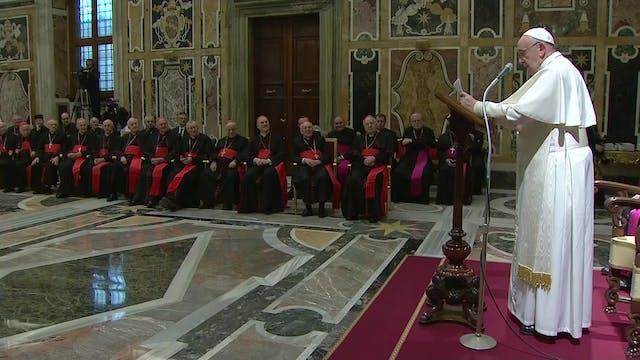 Papa felicita la Navidad a la Curia, ...