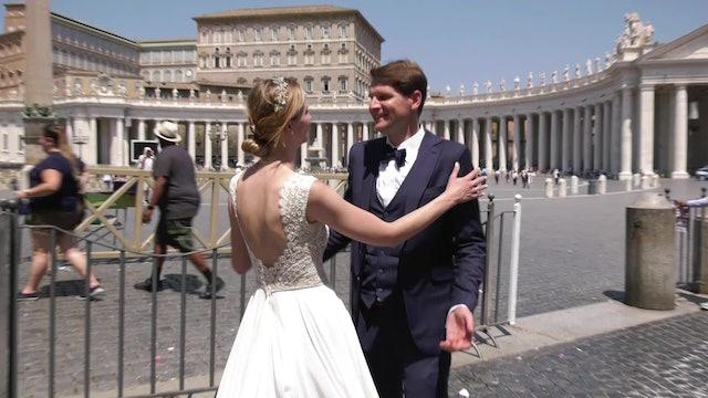 En Roma, el día después de casarse, para estar con el Papa