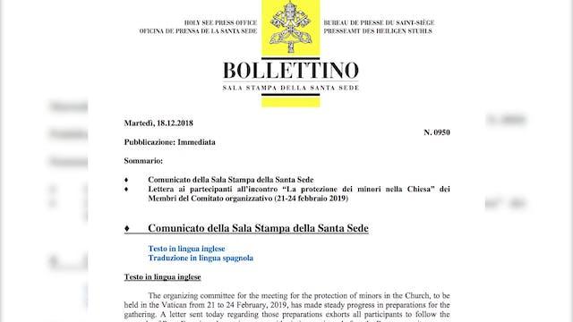 El Vaticano pide a obispos que se reú...