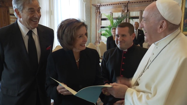 Pope Francis meets with Nancy Pelosi at the Vatican