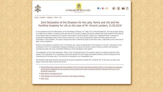 Vatican statement on Vincent Lambert:...
