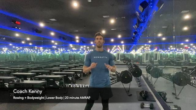 "Rowing + Bodyweight | Lower Body | Coach Kenny | AMRAP: ""Waffles & Lunges"""
