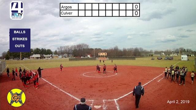 Culver Girls Softball vs Argos - 4-2-19