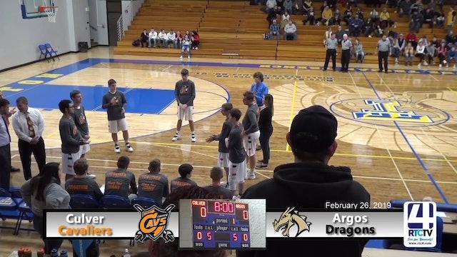 Culver Boys Basketball vs Argos - 2-26-19