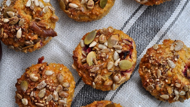 Oat, Lime and Plum Breakfast Muffins