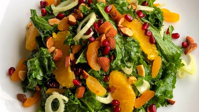 Orange, Dried Apricot and Kale Salad