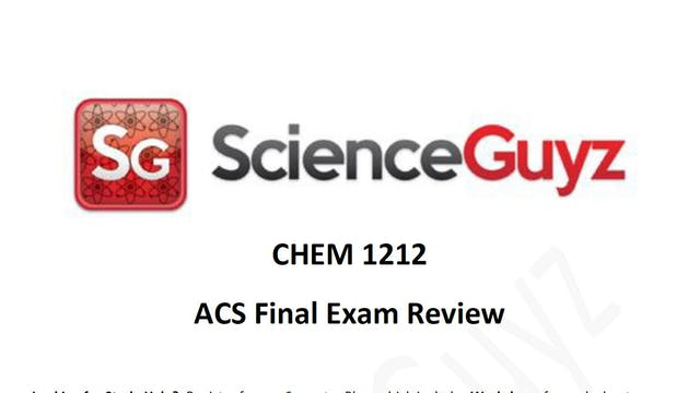 CHEM 1211 Final Exam Review Stoichimetry (Video 3)