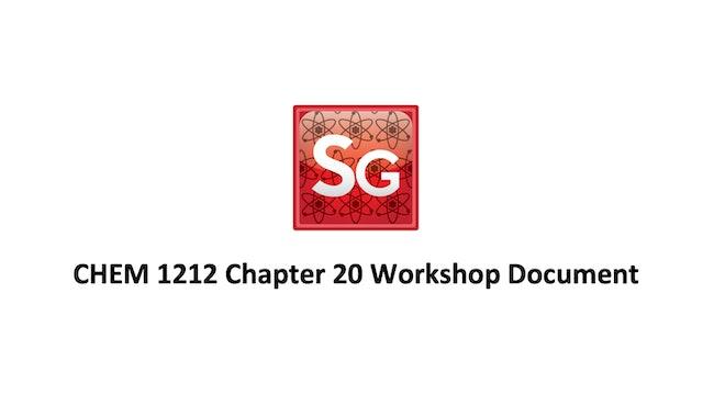 Chapter 20: Chemical Kinetics Spring 2021 Workshop Document