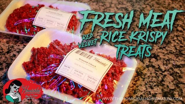 """Homicidal Homemaker: """"Fresh Meat"""" Red Velvet Rice Krispy Treats"""