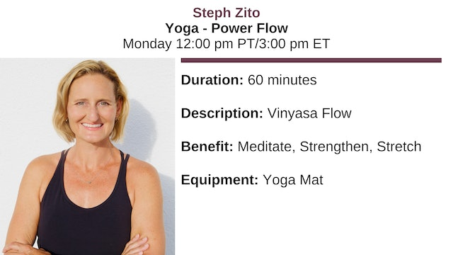 Mon. 12:00 pm - Yoga Basics ~ Power Flow