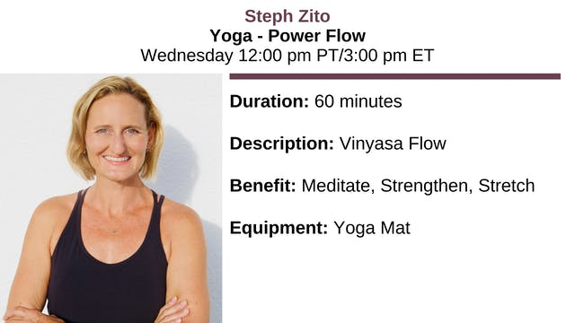 Fri. 12:00 pm - Yoga w/Steph