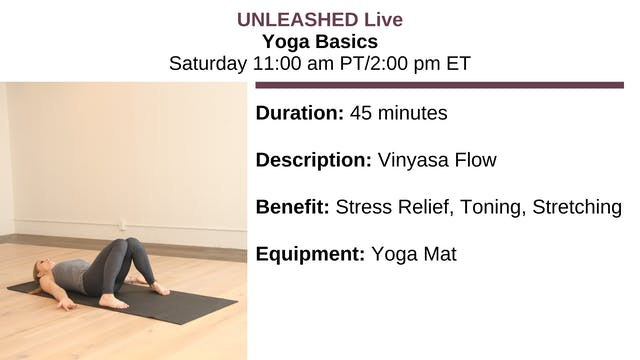 Sat. 11:00 am - Yoga Basics