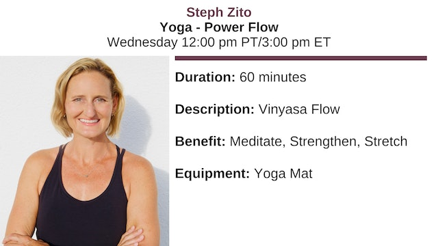Wed. 12:00 pm ~ Yoga w/Steph