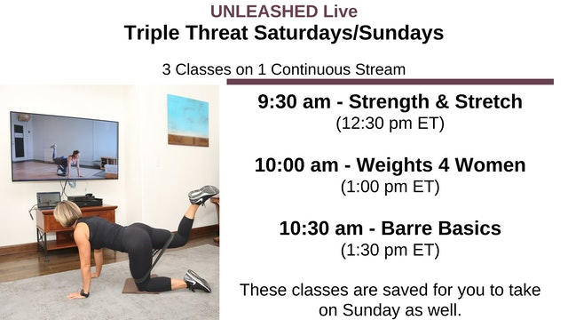 Sat. 9:30 am - Triple Threat - 3 Stacked Classes