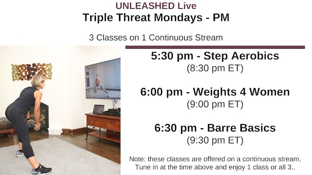 Mon. 5:30 pm Triple Threat - 3 Classes Stacked