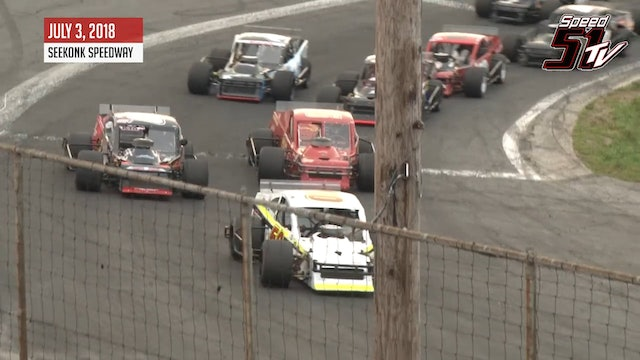 Tri-Track Open Modified Series at Seekonk - Recap July 3, 2018