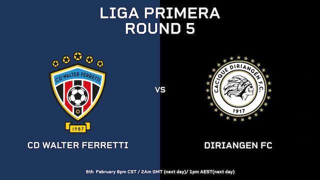 Liga Primera R5: CD Walter Ferretti vs Diriangén FC