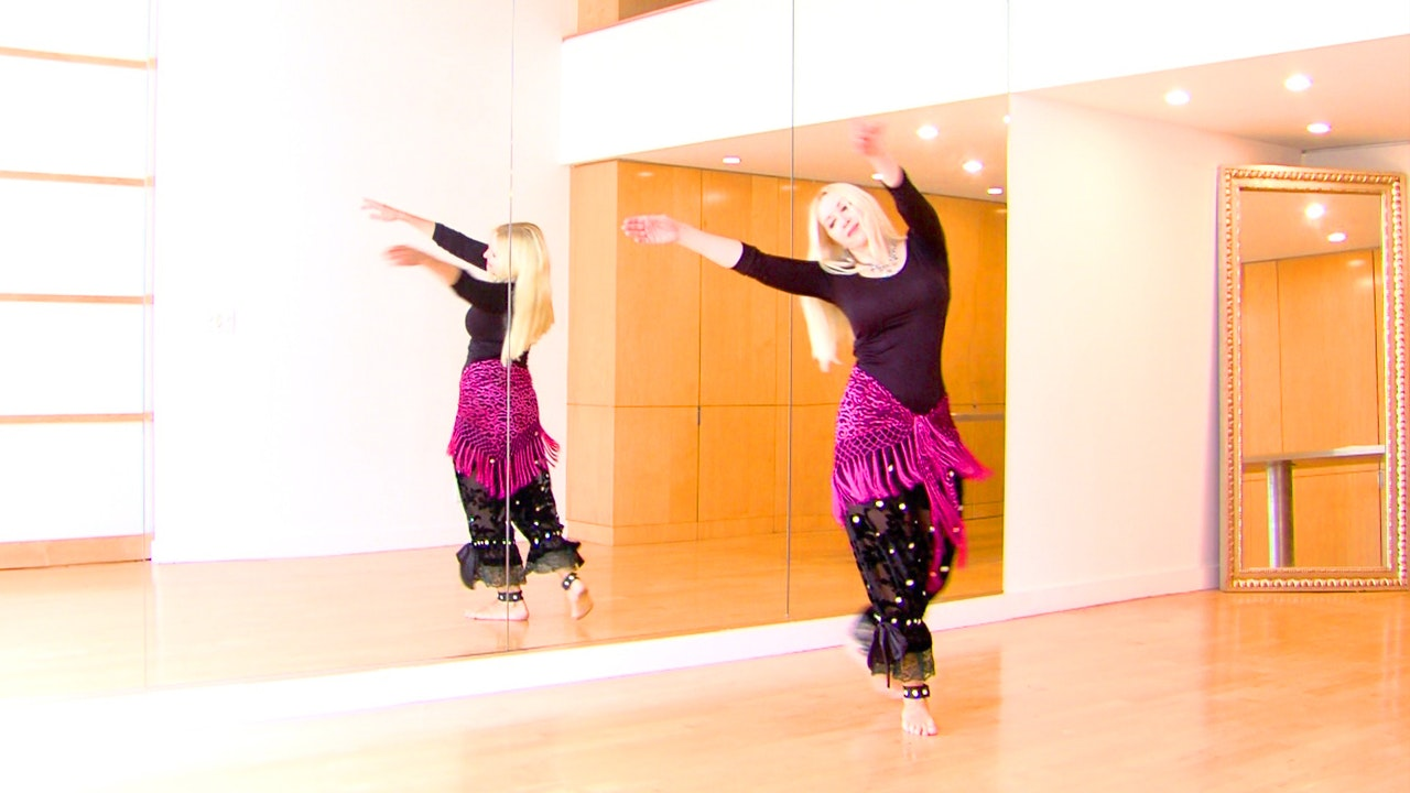 Art Deco Dancer Poses in an Oriental Dance/Belly Dance Routine - Neon