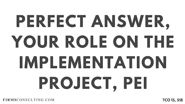 PA9_Perfect Audio Answer, Sanjeev Session 18, Talk about your role on the implementation project, McKinsey PEI