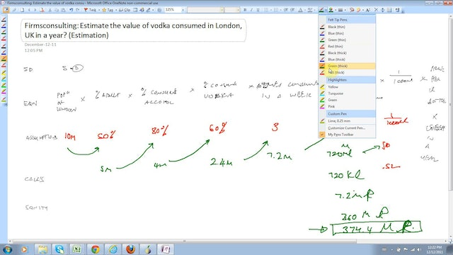 4 Estimation Estimate the value of vodka consumed in London UK in a year