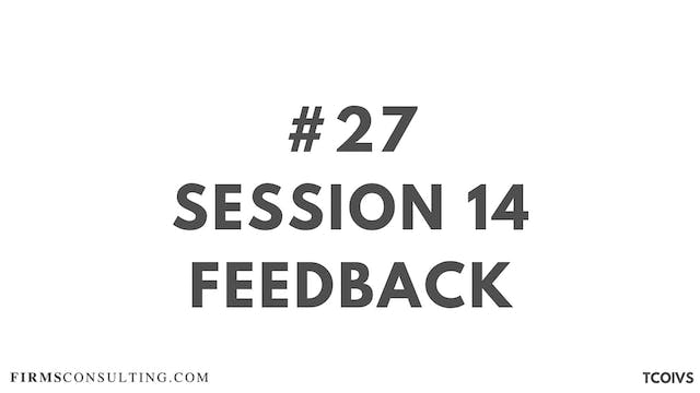 27 TCOIV Sizan. Feedback for session 14