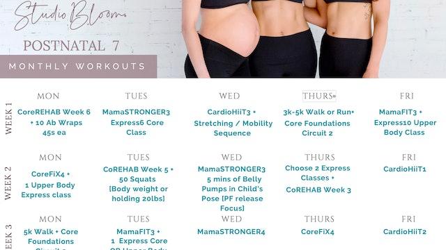 Postnatal Workout Calendar 7