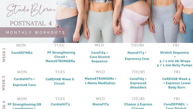 Postnatal Workout Calendar 4