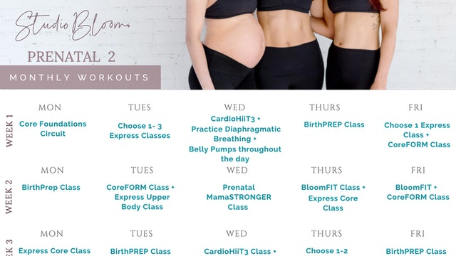 Prenatal Workout Calendar 2