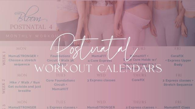 Postnatal Workout Calendars