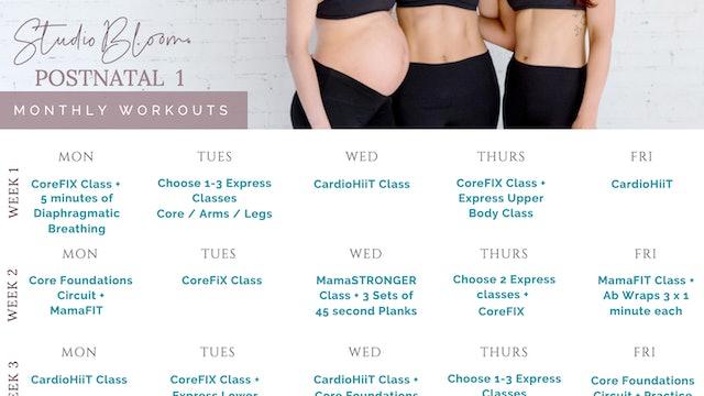 Postnatal Workout Calendar 1
