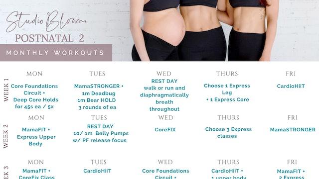 Postnatal Workout Calendar 2