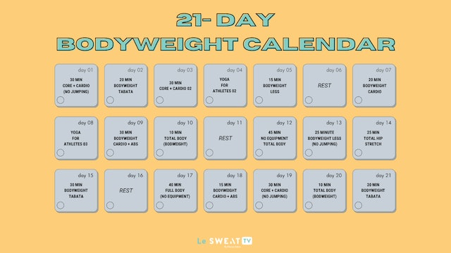 21 DAY BODYWEIGHT CALENDAR