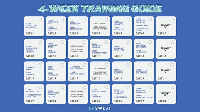 4 WEEK TRAINING CALENDAR