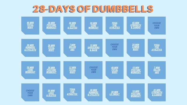 28 DAYS OF DUMBBELLS CALENDAR