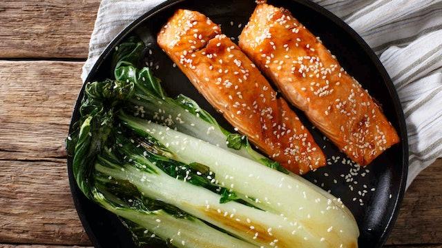 One Pan Honey Garlic Salmon with Bok Choy