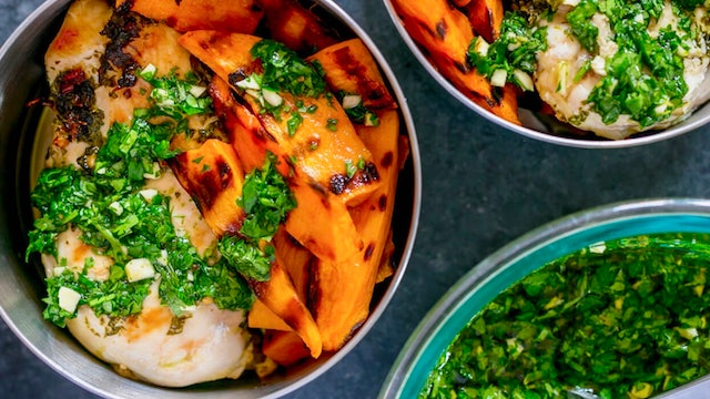 Bbq Chimichurri Chicken With Sweet Potato Wedges