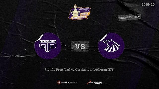 Prolific Prep Napa, CA vs Our Saviour Lutheran Bronx, NY Championship Game
