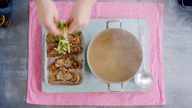 Sizzling Lamb Chops and Mushroom Soup