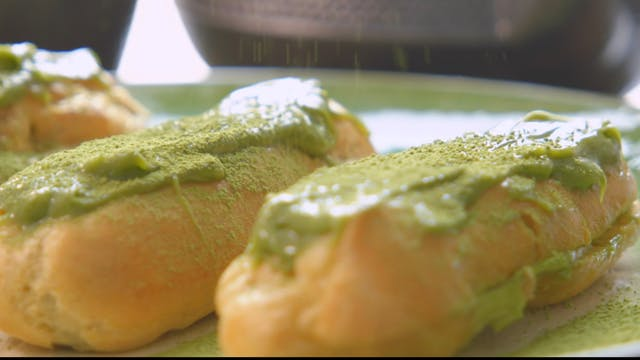 Matcha Green Tea Eclaires and Red Bea...