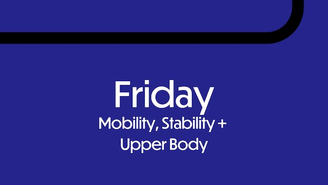 FRIDAY: Mobility, Stability, Upper Body Strength