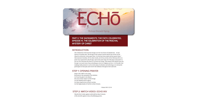 Echo, Sacraments Study Guide