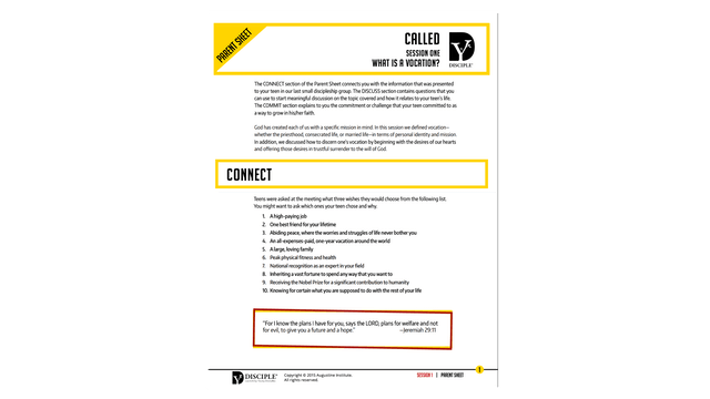 Called Parent Sheets PDF