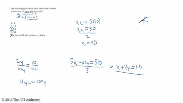 ACT Math - Infinite Solutions