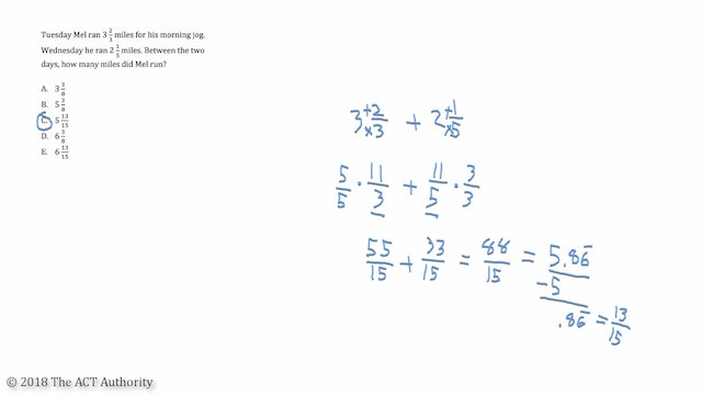ACT Math- Adding/Subtracting Mixed Numbers