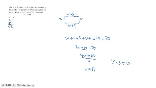ACT Math - Finding Width or Length With Variables