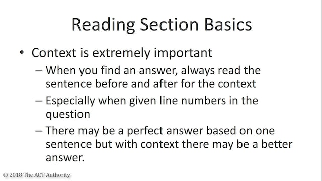 ACT Reading Section Introduction