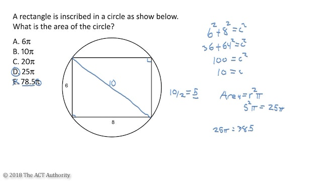 ACT Math - Rectangle in a circle