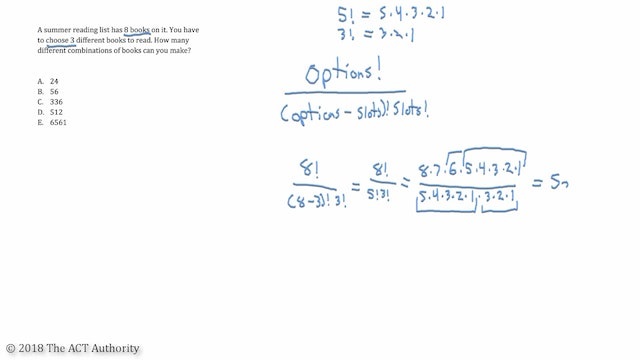 ACT Math - Combinations with a Single Object Type