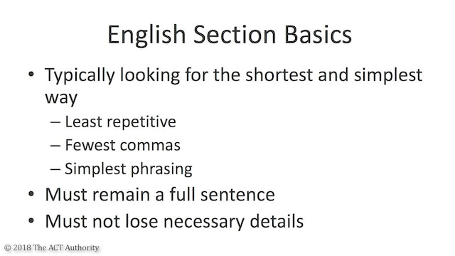 General Strategy For The ACT English