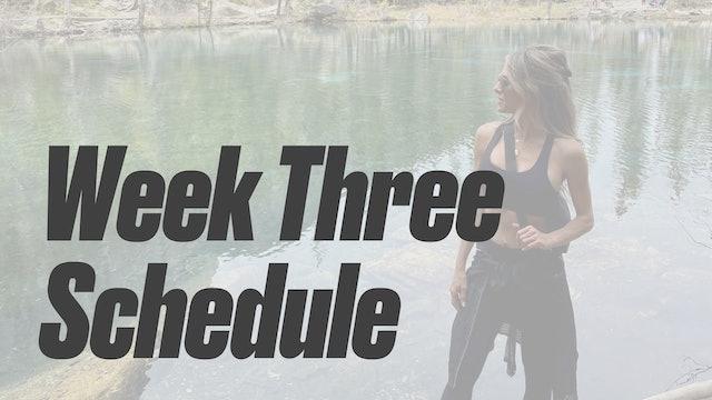 Week Three Schedule